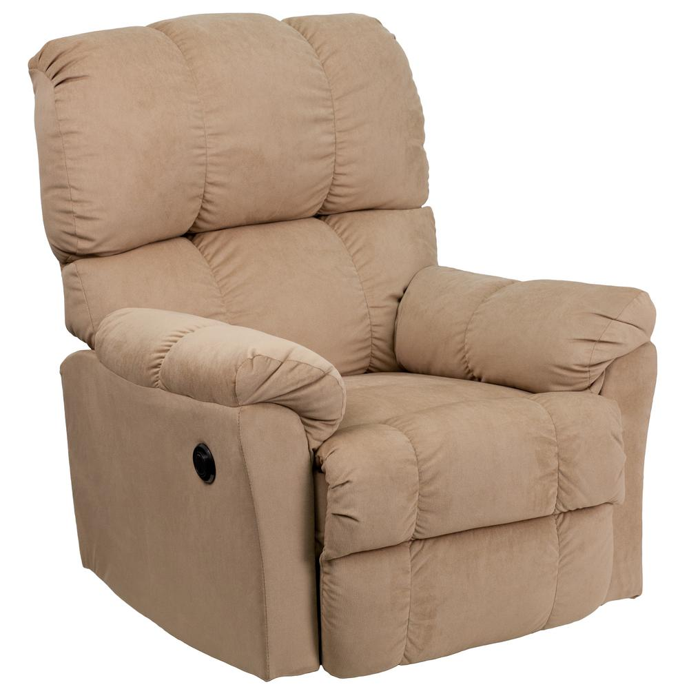 Delightful Flash Furniture Contemporary Top Hat Coffee Microfiber Power Recliner With Push  Button