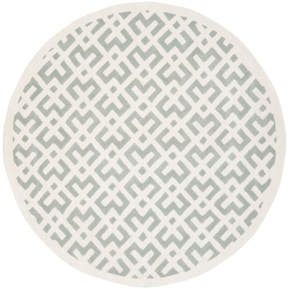 Safavieh Chatham Grey/Ivory 7 ft. x 7 ft. Round Area Rug