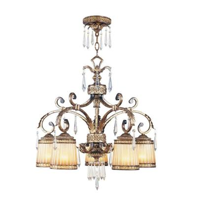 5-Light Vintage Gold Leaf Incandescent Ceiling Chandelier