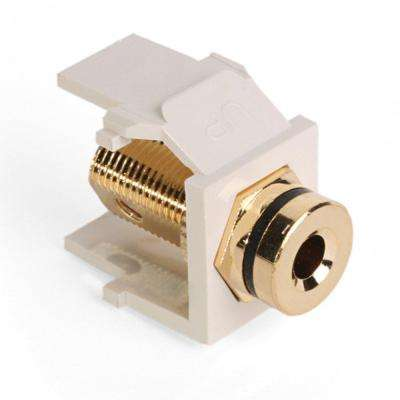 QuickPort Banan Amp Jack Gold-Plated Connector with Black Stripe, Light Almond