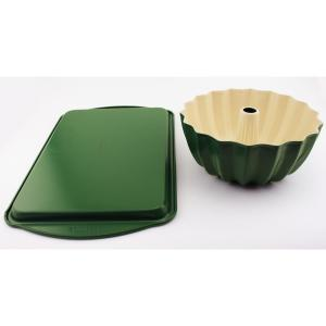 Click here to buy BergHOFF CooknCo 2-Piece Green Cookie Sheet and Bundt Pan Set by BergHOFF.