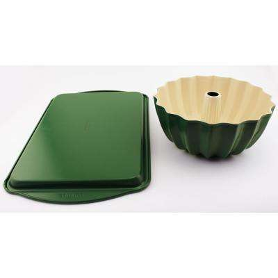 CooknCo 2-Piece Green Cookie Sheet and Bundt Pan Set