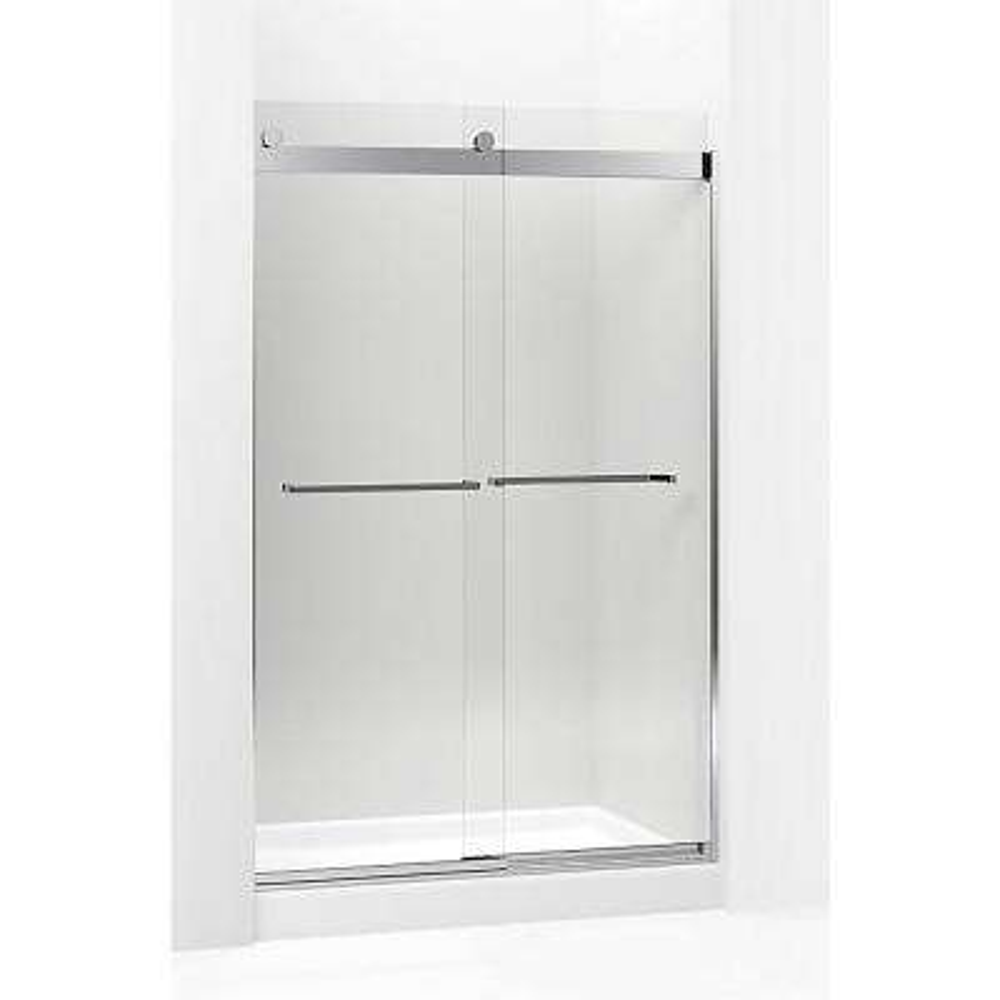 Levity 59.625 in. W x 74 in. H Frameless Sliding Shower Door in Brushed Nickel