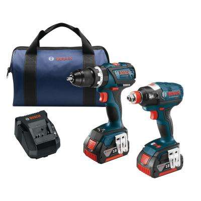 18-Volt Lithium-Ion Cordless 1/4 in. and 1/2 in. Impact Driver and 1/2 in. Hammer Drill/Driver Combo Kit (2-Tool)