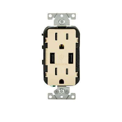 15 Amp Decora Combination Tamper Resistant Duplex Outlet and USB Charger, Ivory
