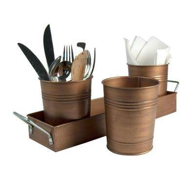 4 in. D x 5 in. H x 17.5 in. L Flatware Caddy with 3 Cups in Antique Copper