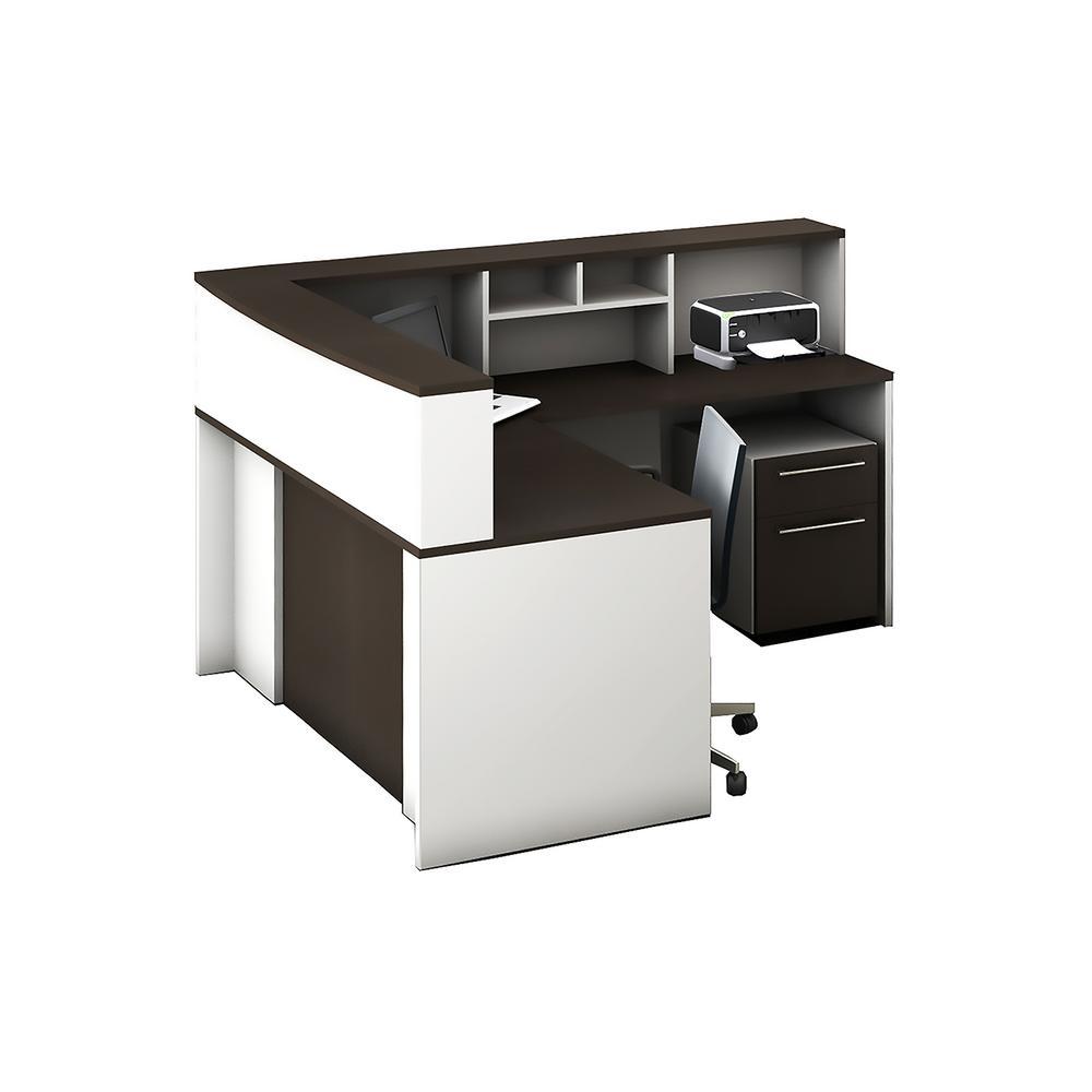 l shaped desk home office. 5-Piece White/Espresso Office Reception Desk Collaboration Center L Shaped Home W