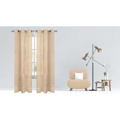 Hannah 38 in. W x 84 in. L Semi Sheer Grommet Window Panel Pair in Gold (2-Pack)