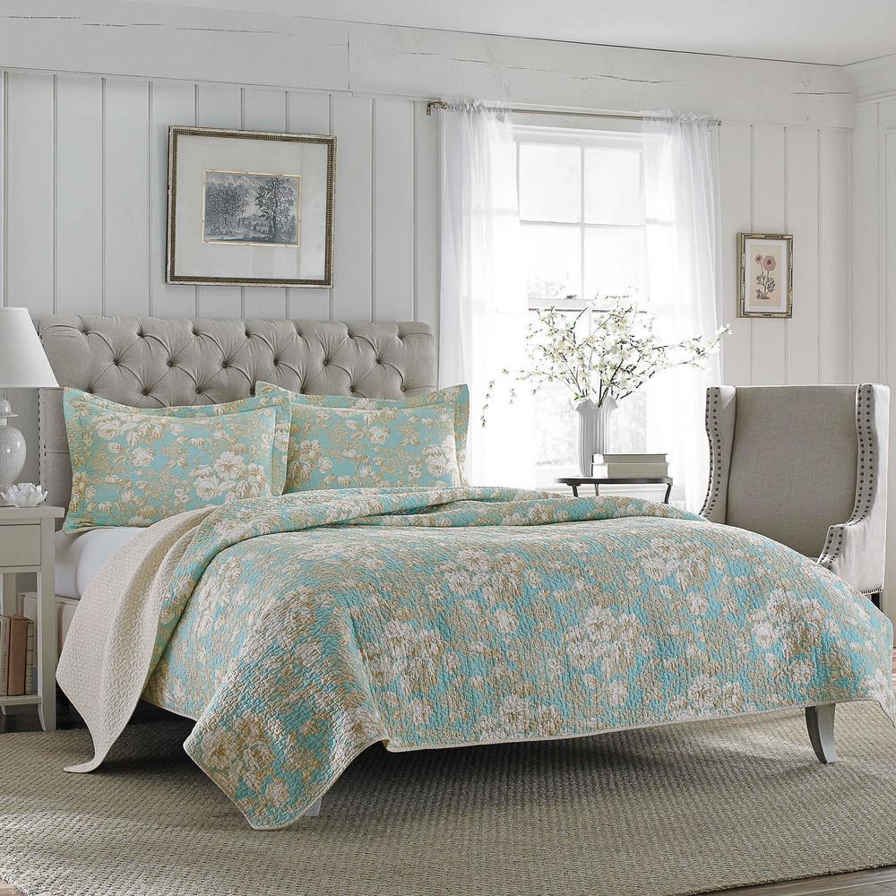 Brompton 3-Piece Blue Cotton Floral King Quilt Set