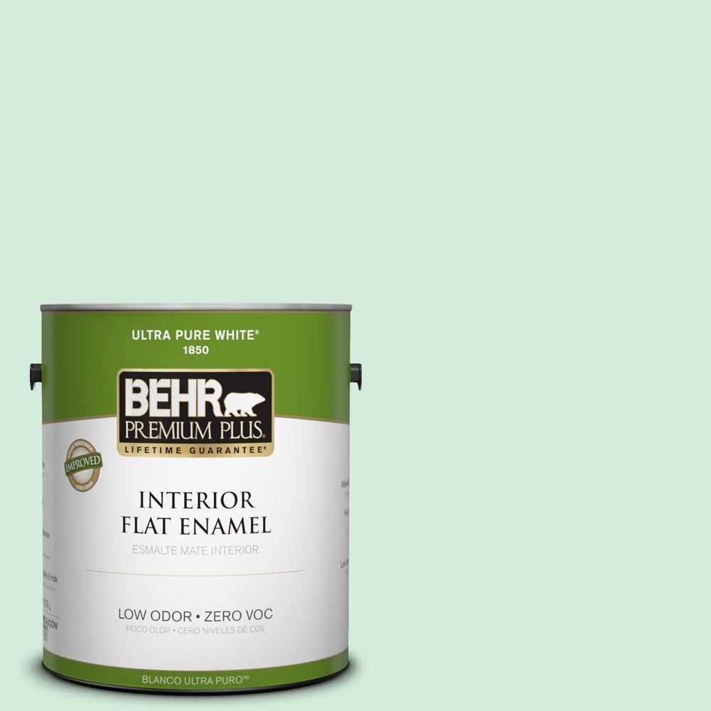 BEHR Premium Plus 1-gal. #470C-2 Winter Fresh Zero VOC Flat Enamel Interior Paint-DISCONTINUED