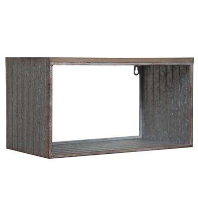 Rustic 18.1 in. W x 9.1 in. D Gray Galvanized Decorative Shelf