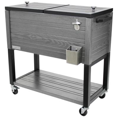 80 quart Portable Rolling Patio Cooler, Gray