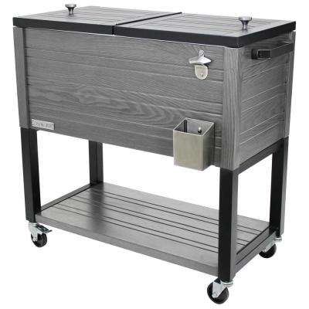 80 quart Portable Rolling Patio Cooler, Gray