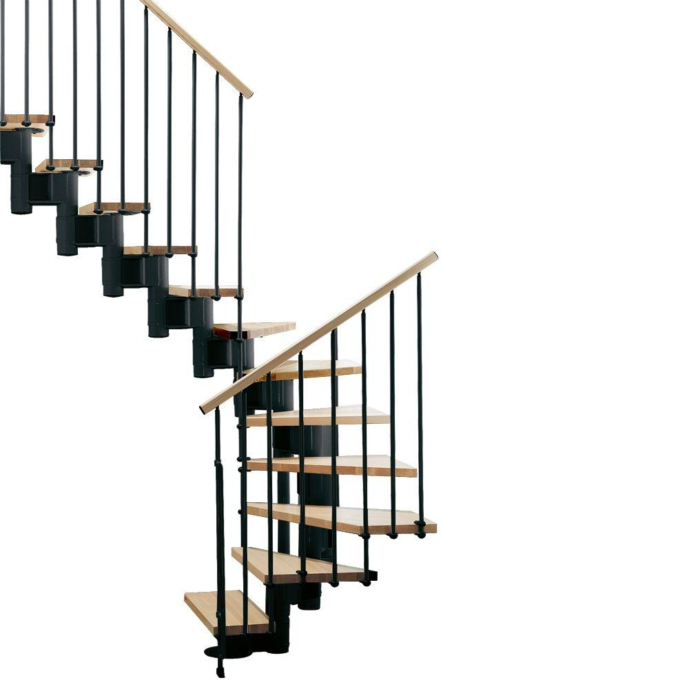 "Arke Kompact 35 in. Black Modular Staircase ""U"" Kit"