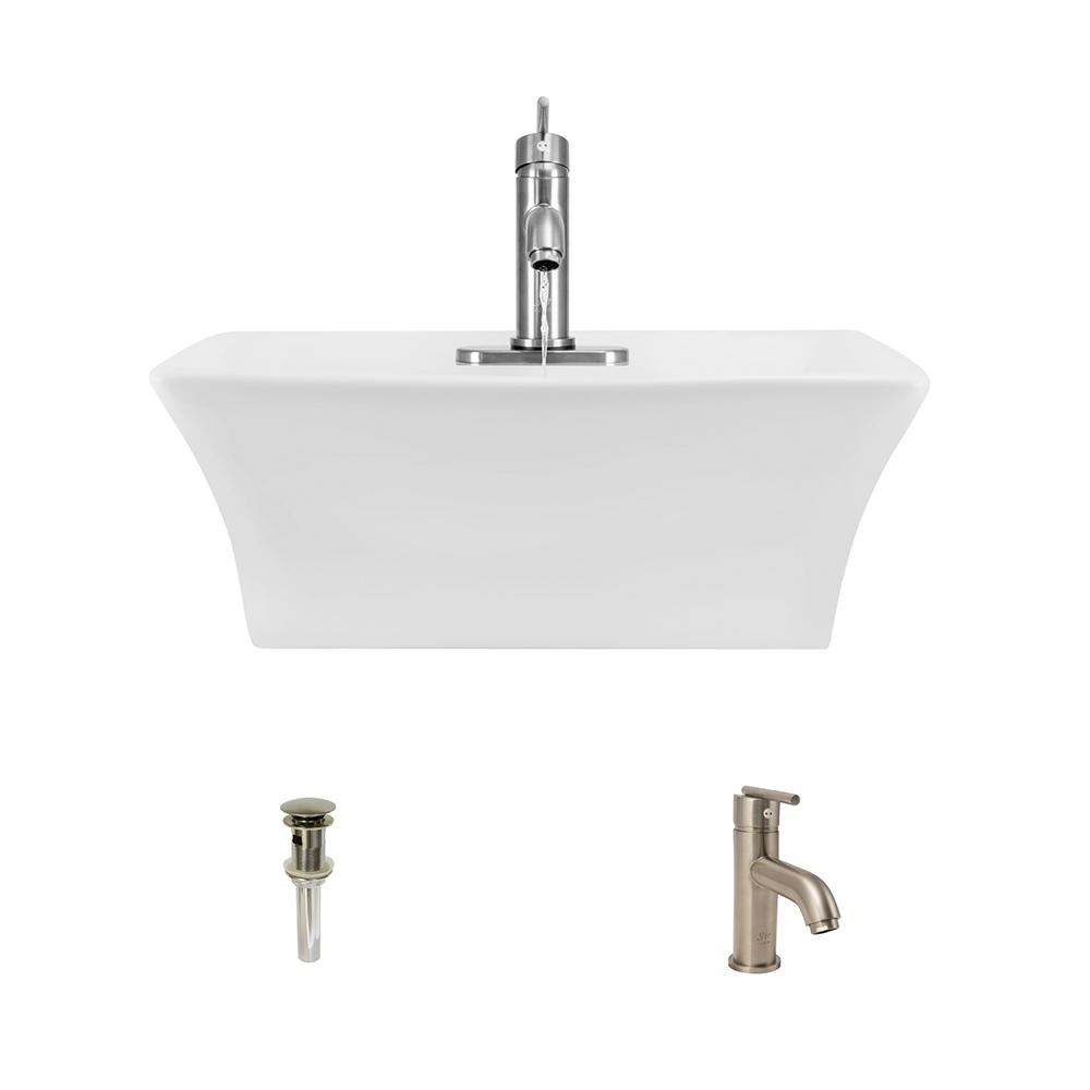 Mr Direct Porcelain Vessel Sink In White With 753 Faucet