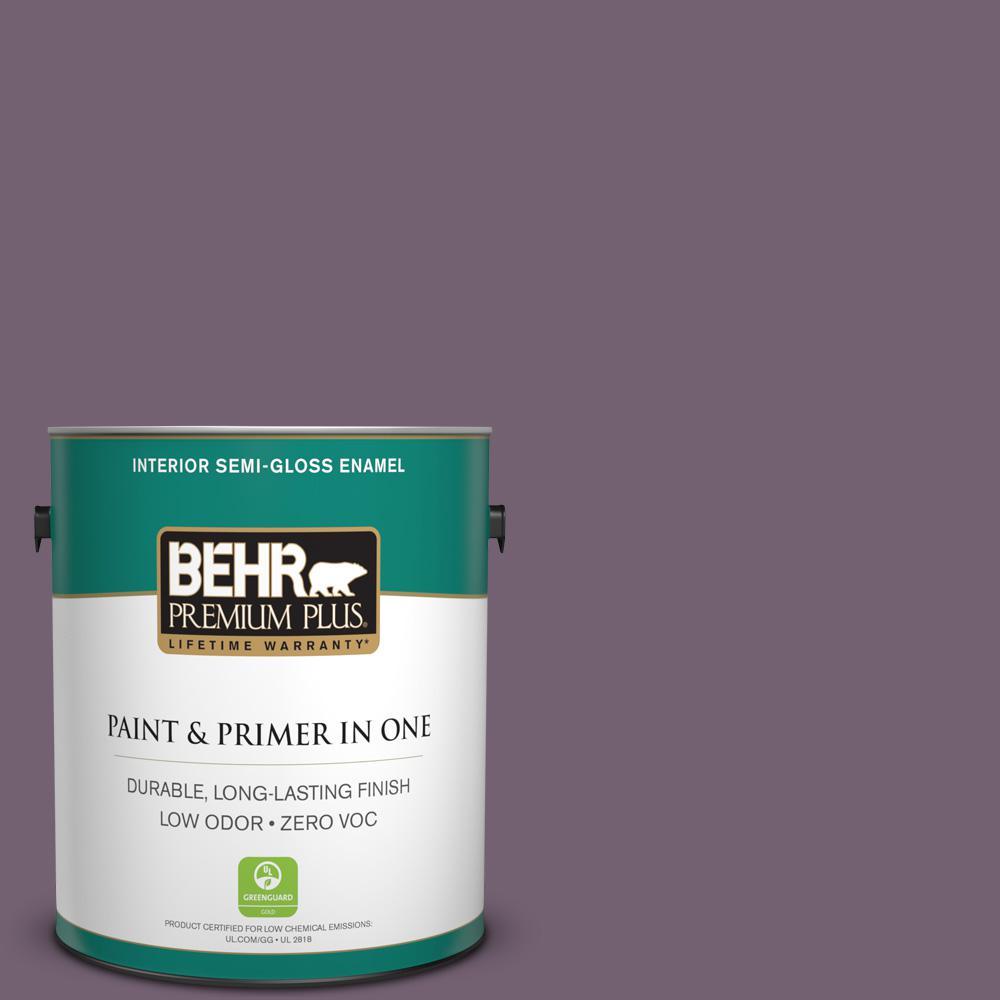 1-gal. #680F-6 Shy Violet Zero VOC Semi-Gloss Enamel Interior Paint