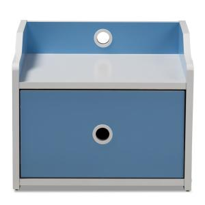 Aeluin 1-Drawer Blue and White Nightstand
