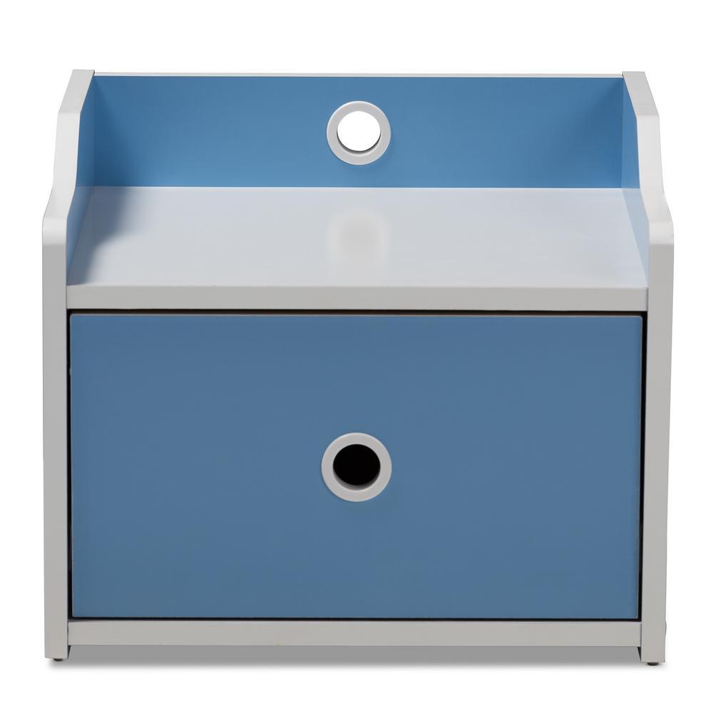 Baxton Studio Aeluin 1-Drawer Blue and White Nightstand