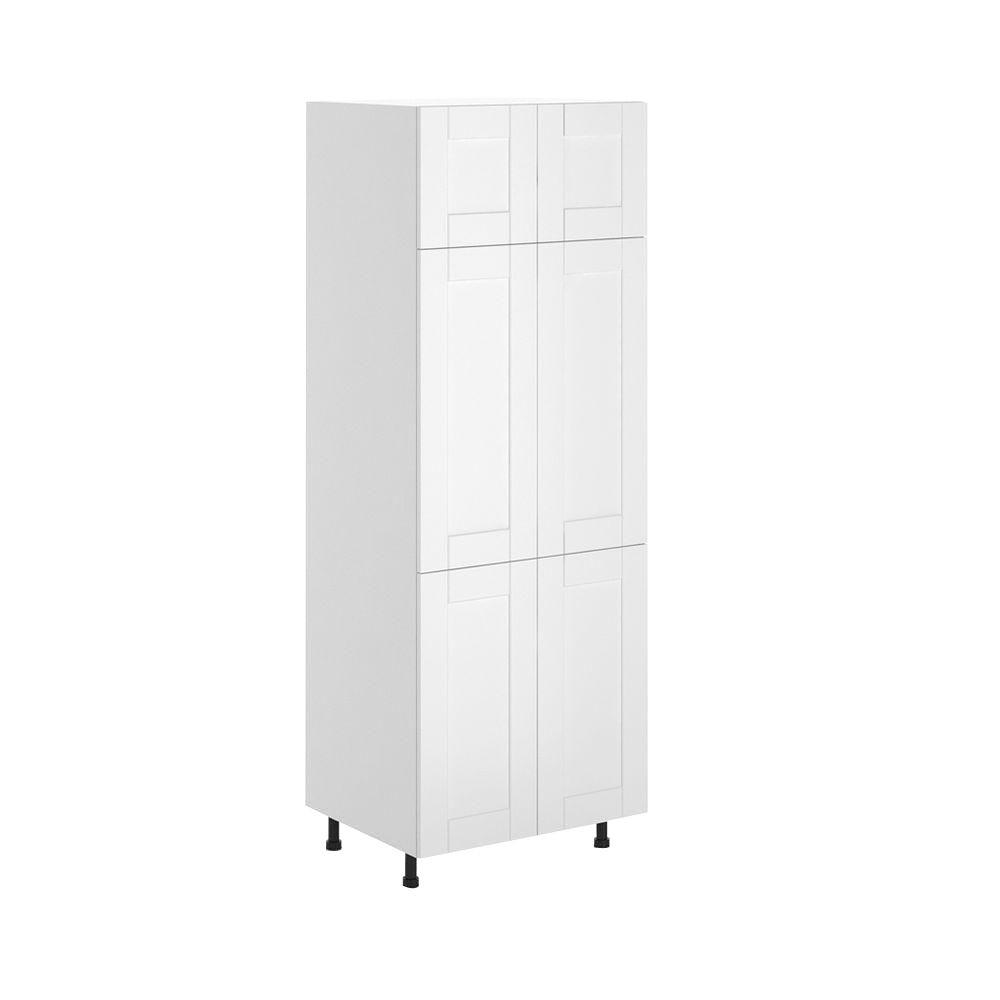 Fabritec Dublin Ready To Assemble 30 X 83 5 X 24 5 In Pantry Utility Cabinet In White Melamine