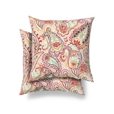 Hampton Bay 18 in. x 18 in. Chili Paisley Square Outdoor Throw Pillow (2 Pack)