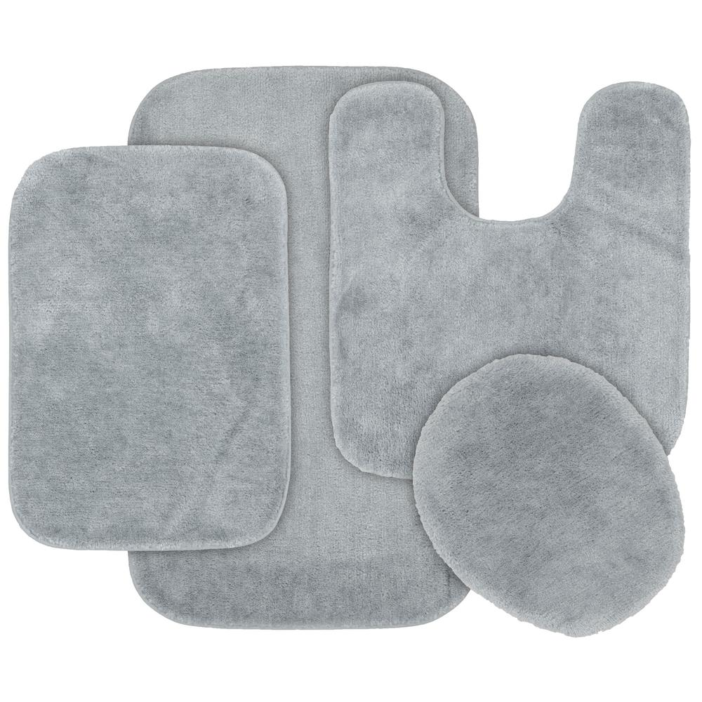 Traditional 4 Piece Washable Bathroom Rug Set in Platinum Gray