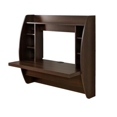43 in. Rectangular Espresso Floating Desk with Cable Management