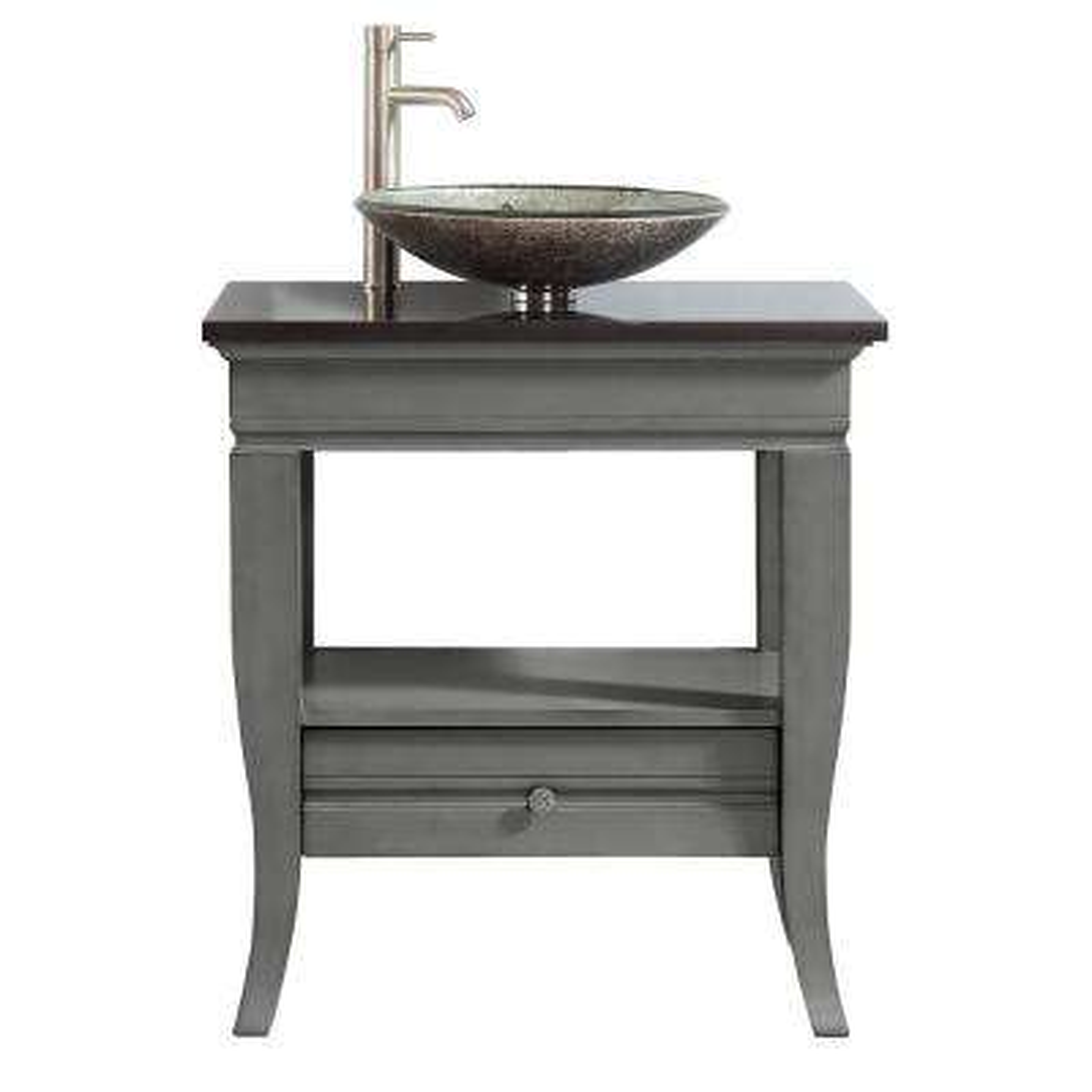 31 in. W x 22 in. D x 33 in. H Bath Vanity in Light Charcoal with Granite Vanity Top in Black