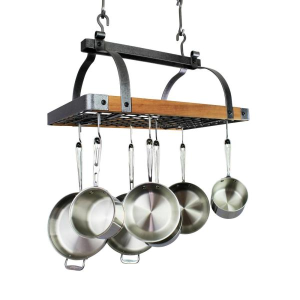Enclume Signature 30 in. Rectangle Ceiling Pot Rack Hammered Steel w
