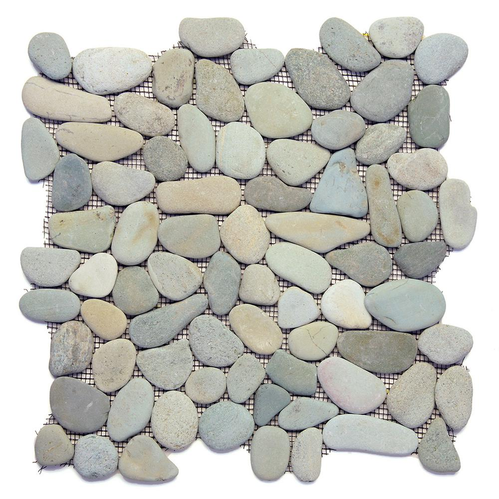 River Rock Turquoise 12 In X 7 Mm Natural Stone Pebble Mosaic Floor And Wall Tile 10 Sq Ft Case