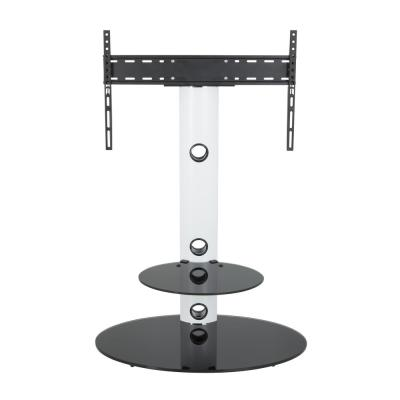 Lugano 31.5 in. White Glass Pedestal TV Stand Fits TVs Up to 65 in. with Flat Screen Mount
