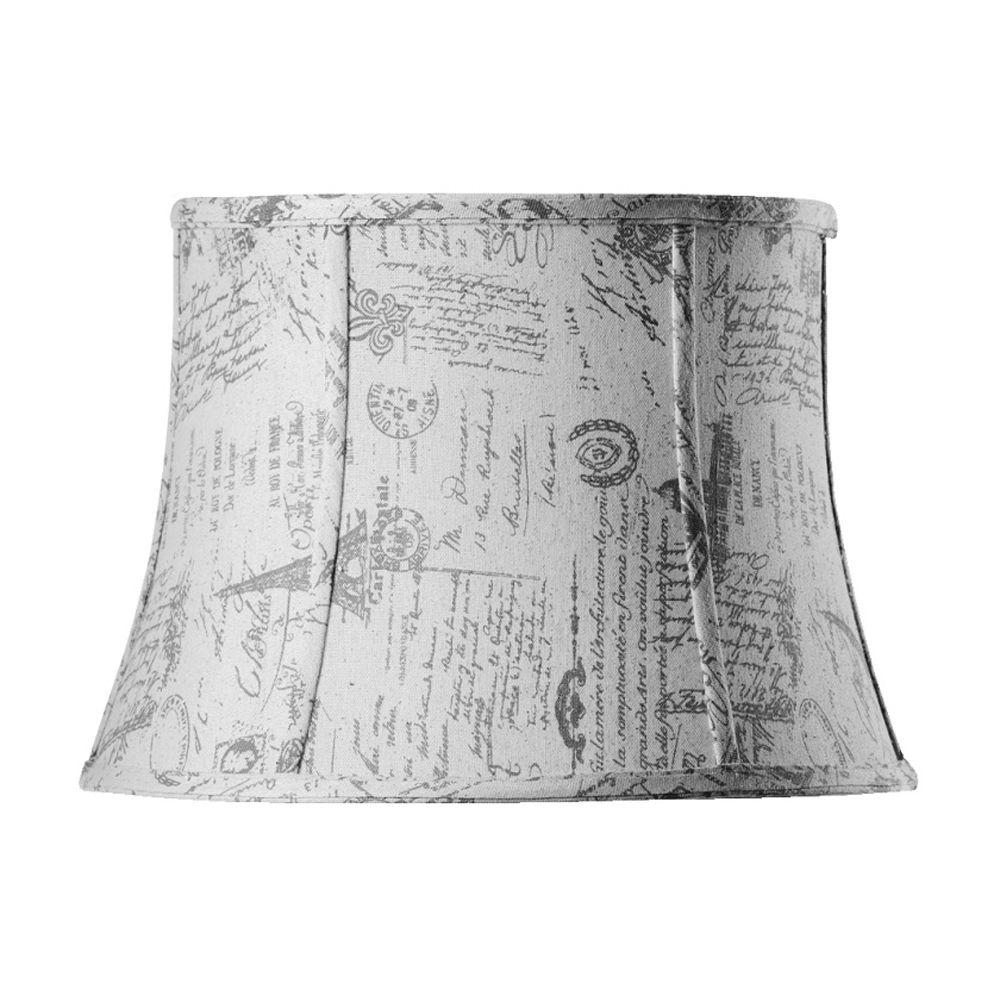 Home Decorators Collection Tapered Medium 16 in. Diameter French Script Linen Drum Shades