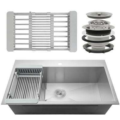 Handcrafted All-in-One Drop-In Stainless Steel 32 in. x 18 in. x 9 in. Single Bowl Kitchen Sink with Drain and Tray