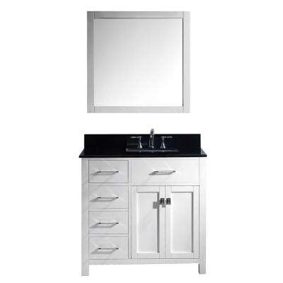 Caroline Parkway 36 in. W Bath Vanity in White with Granite Vanity Top in Black with Square Basin and Mirror