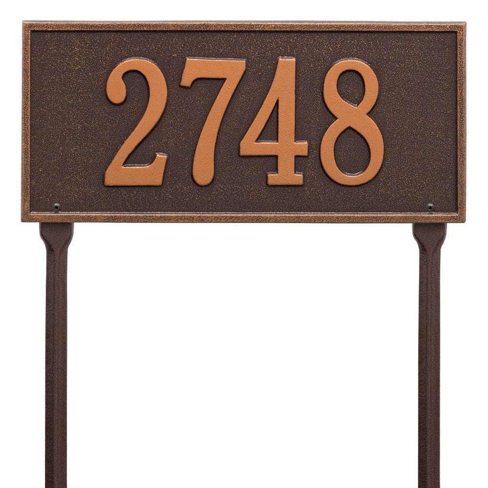 Whitehall Products Hartford Rectangular Antique Copper Standard Lawn 1-Line Address Plaque