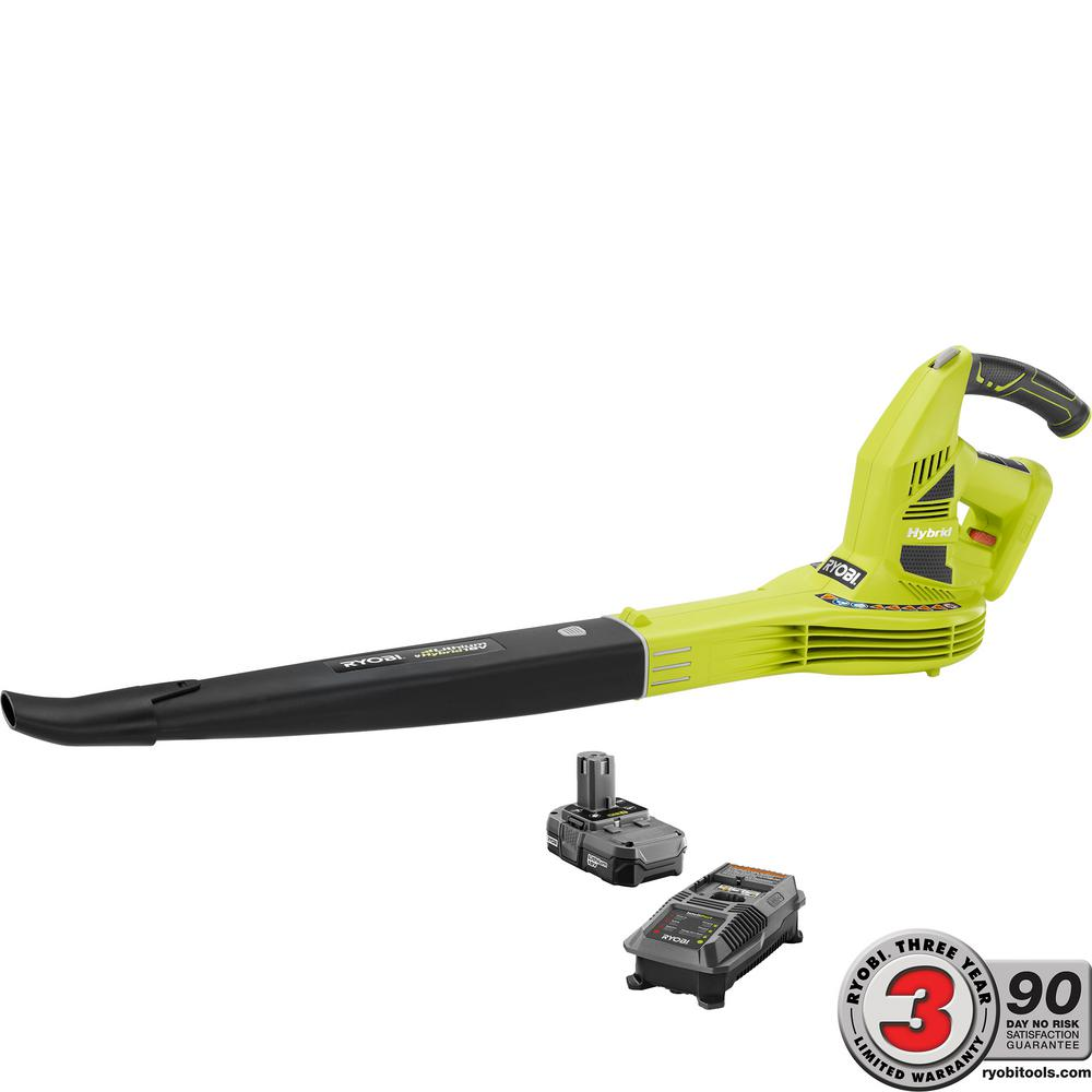RYOBI RYOBI ONE+ 150 MPH 200 CFM 18-Volt Lithium-Ion Hybrid Leaf Blower/Sweeper - 1.3 Ah Battery and Charger Included