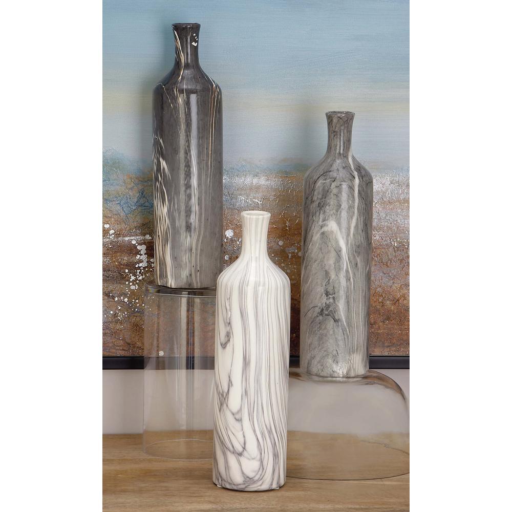 13 in. Gray Ceramic Decorative Vase (Set of 3)