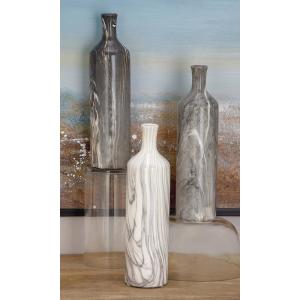 13 in. Gray Ceramic Decorative Vase (Set of 3)