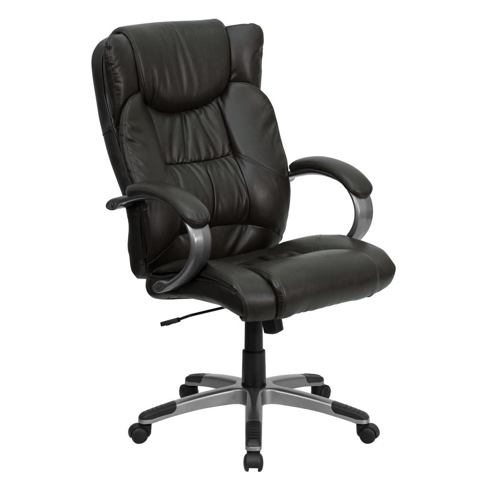 Flash furniture high back espresso brown leather executive High back swivel chair for living room