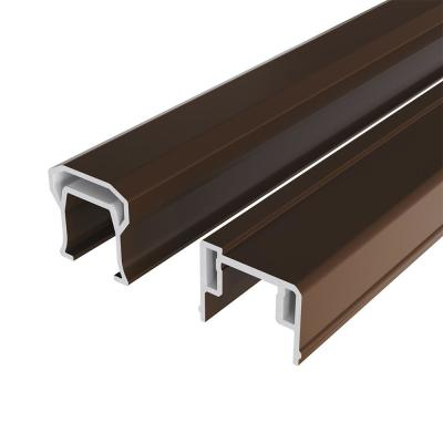 HavenView CountrySide 6 ft. Simply Brown Capped Composite Line Rail Section with 35.5 in. Aluminum Balusters