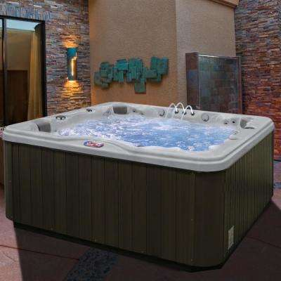 7-Person 56-Jet Premium Acrylic Lounger Spa Hot Tub with Bluetooth Stereo System, Subwoofer and Backlit LED Waterfall