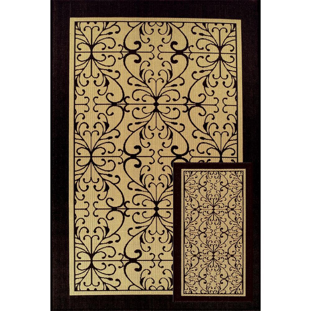 Martha Stewart Living Scroll Beige/Black 6 ft. 5 in. x 9 ft. 6 in. 2-Piece Indoor/Outdoor Rug Set-DISCONTINUED