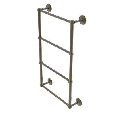 Monte Carlo Collection 4-Tier 30 in. Ladder Towel Bar with Groovy Detail in Antique Brass