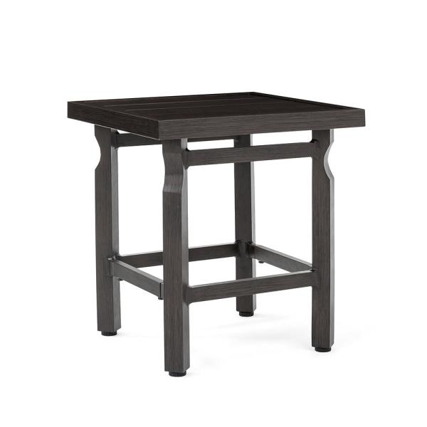 Colton Square Metal Slat Top Outdoor Side Table