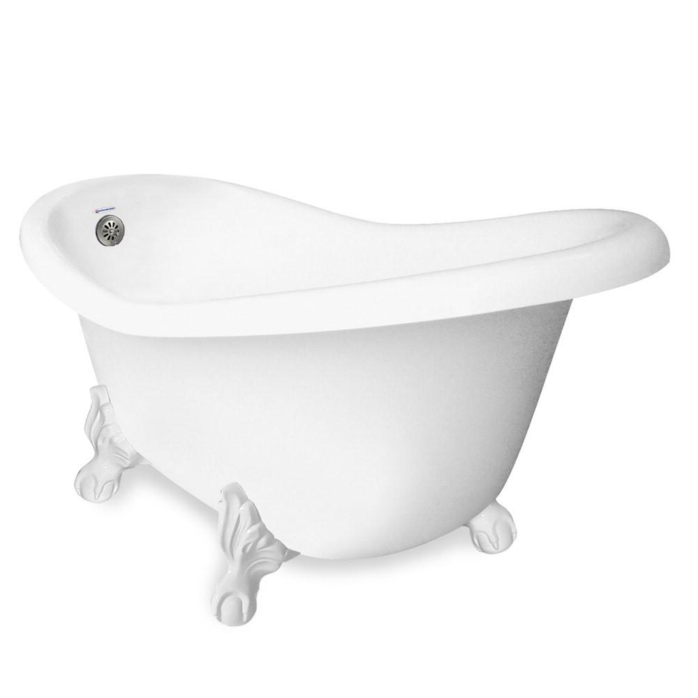 60 in. AcraStone Slipper Clawfoot Non-Whirlpool Bathtub and Feet in White