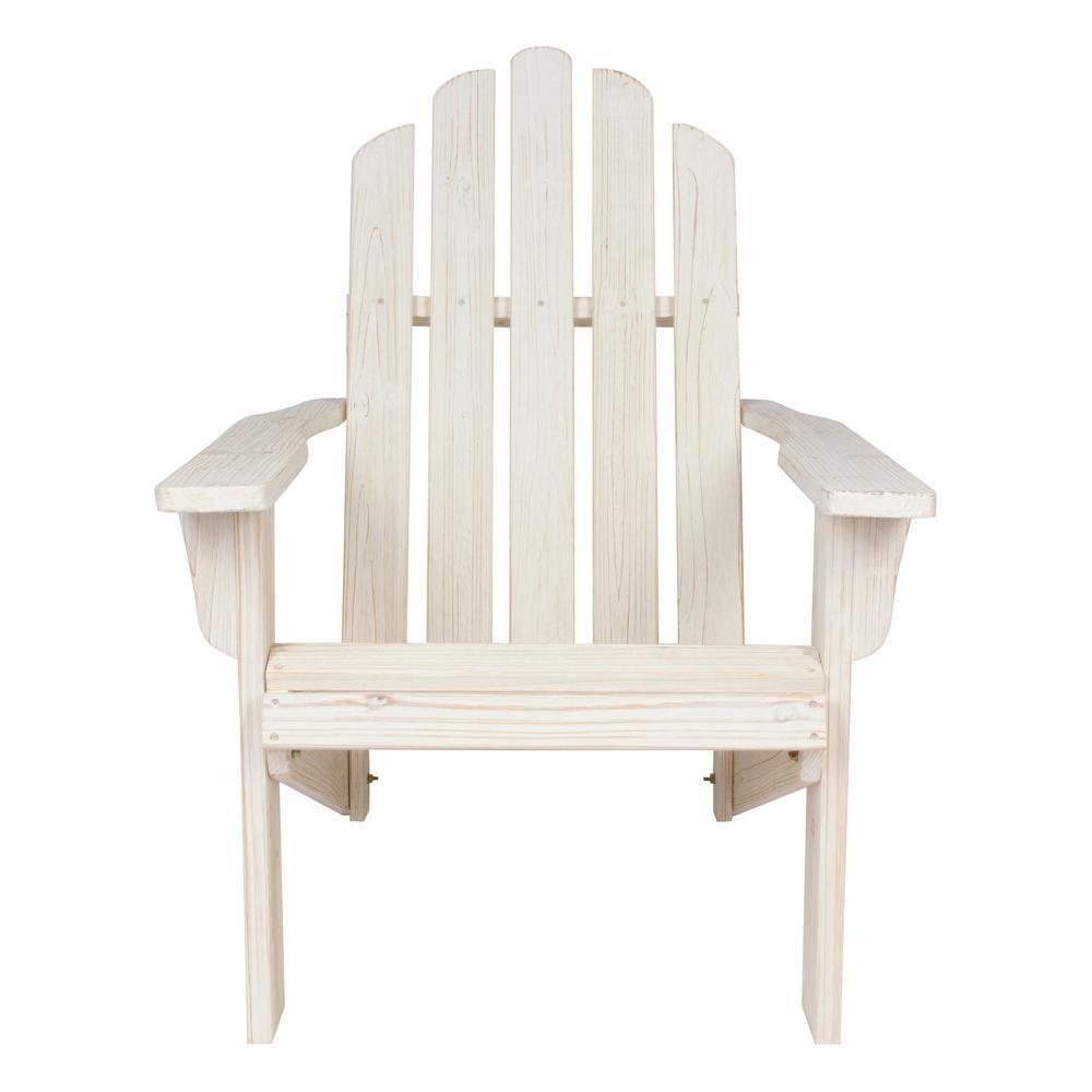 Shine Company Marina Distressed White Rustic Cedar Wood Adirondack Chair
