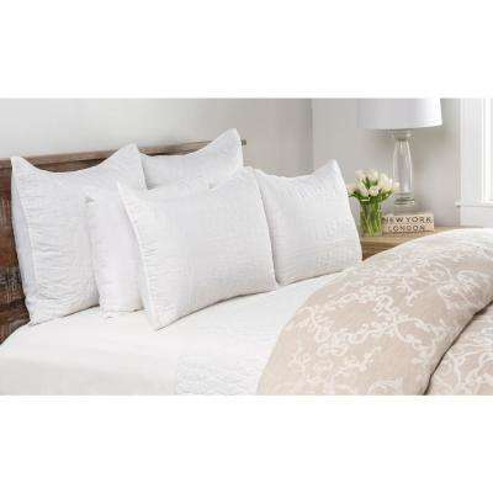 Cressida White Linen King Quilt