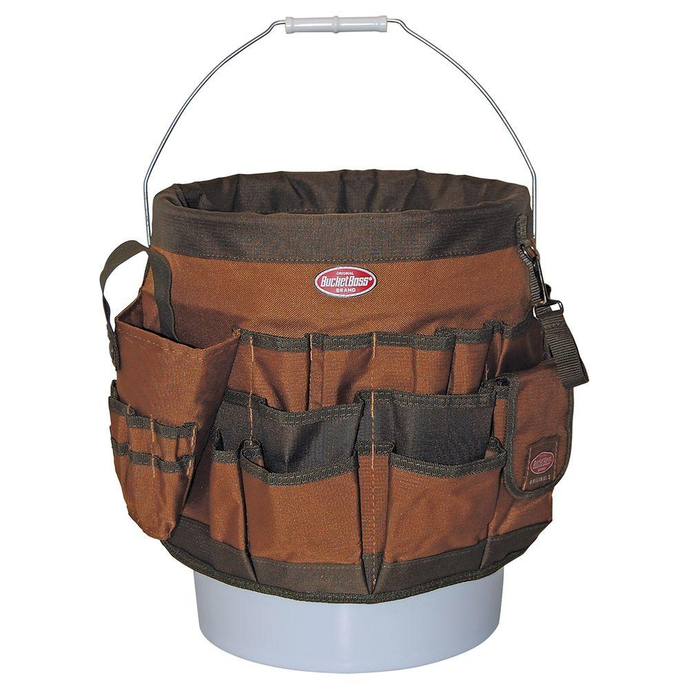 Bucket Boss 11 in. 56-Pocket Tool Bucket Organizer in Brown and Green