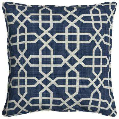 Sunbrella Bevel Indigo Square Outdoor Throw Pillow (2-Pack)
