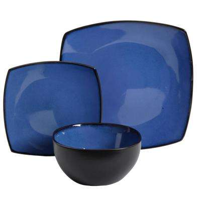 Soho Lounge 12-Piece Cobalt Blue Dinnerware Set