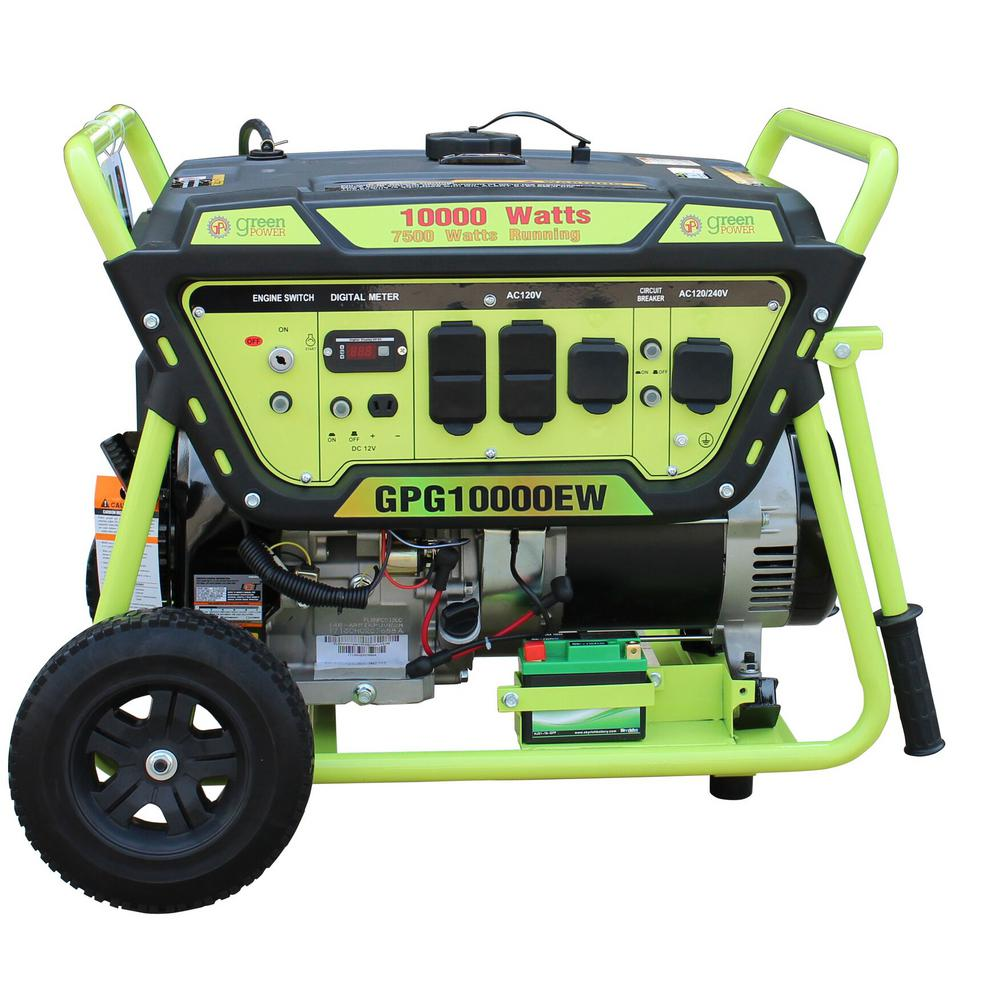 Green-Power Green Power 10000/7500-Watt Gasoline Powered Electric Start Portable Generator w/420cc 15HP LCT Engine, Lithium Battery